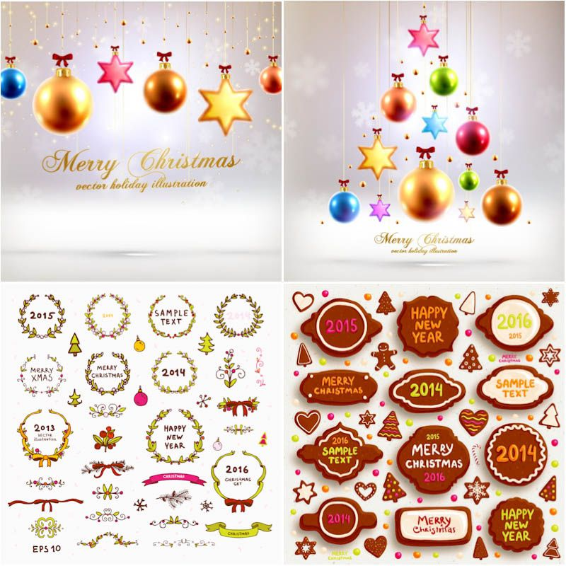 New Year cards & 2014 Christmas elements vector