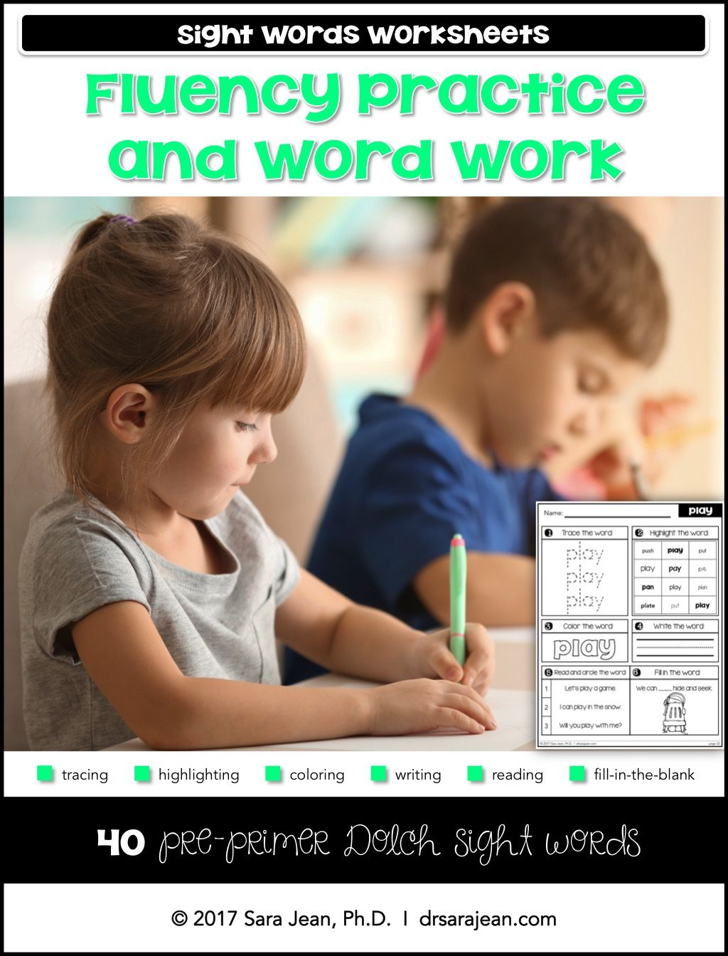 Pre Primer Sight Words Worksheets Fluency Practice And