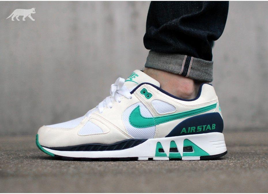 Nike Air Stab (White / Emerald Green Sail Mid Navy) Hot kicks