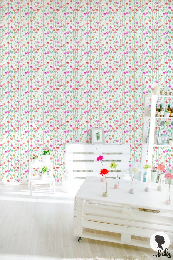 Watercolor Floral Pattern Removable Wallpaper, Floral Wall Mural L806