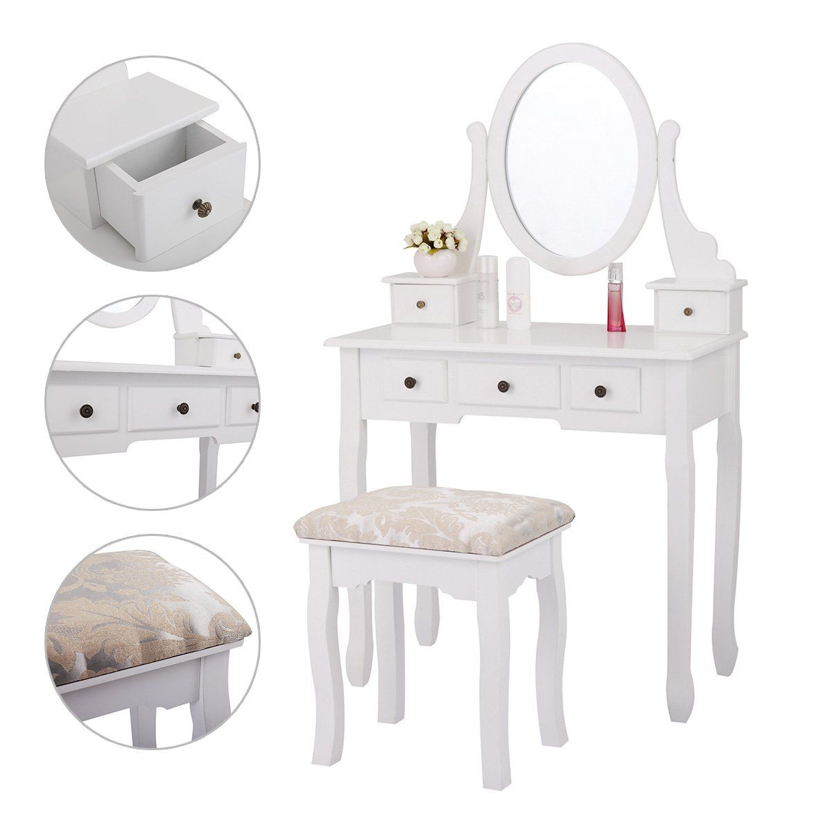 Jaxpety drawers vanity table set with mirror and cushioned stool