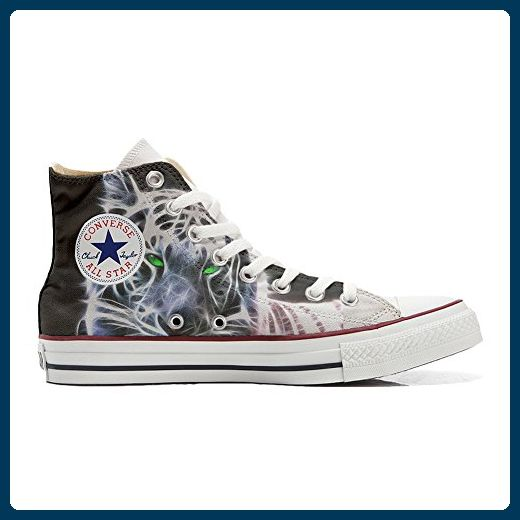 Schuhe Converse All Star Custom Personalisierte Schuhe (Handwerk Produkt Customized) White Tiger With Green Eyes
