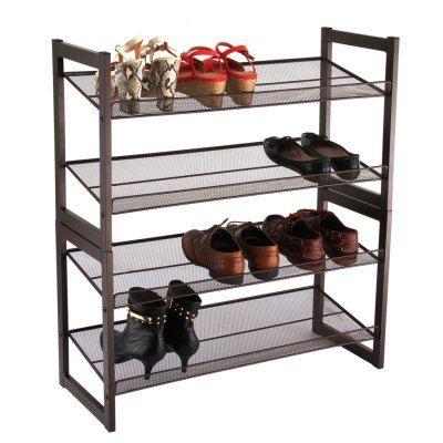 Shoe 4 Langria 4 Tier Angled Metal Mesh Shoe Rack Sale Price Reviews Gearbest Mobile In 2020 Shoe Storage Rack Shoe Rack Metal Shoe Rack