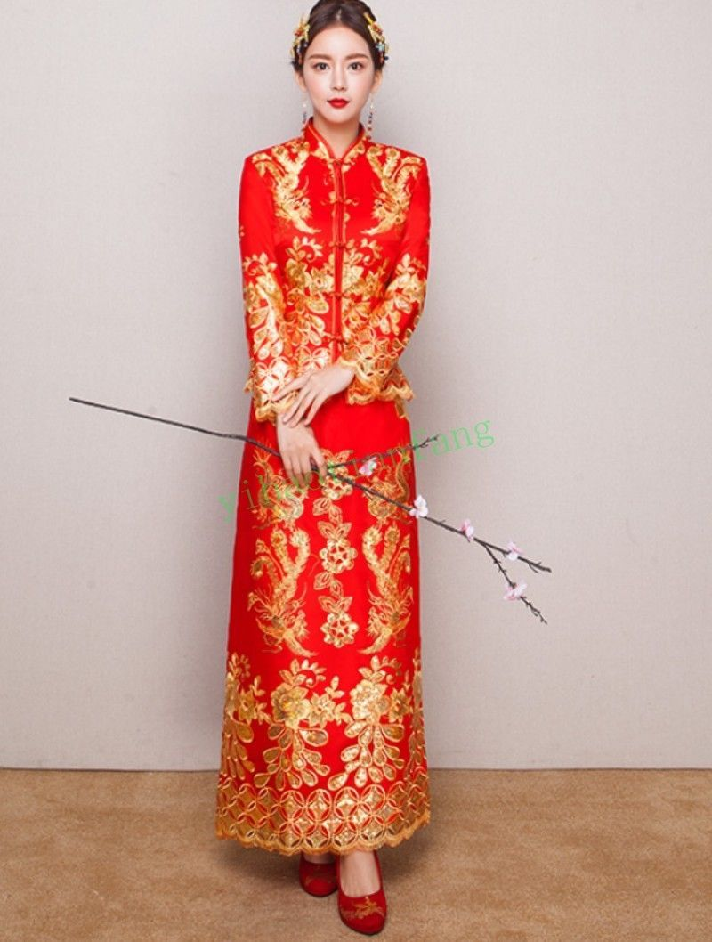 Floral print wedding dresses  Wedding Dress Qipao Chinese Womens Evening Long Red Fashion Floral
