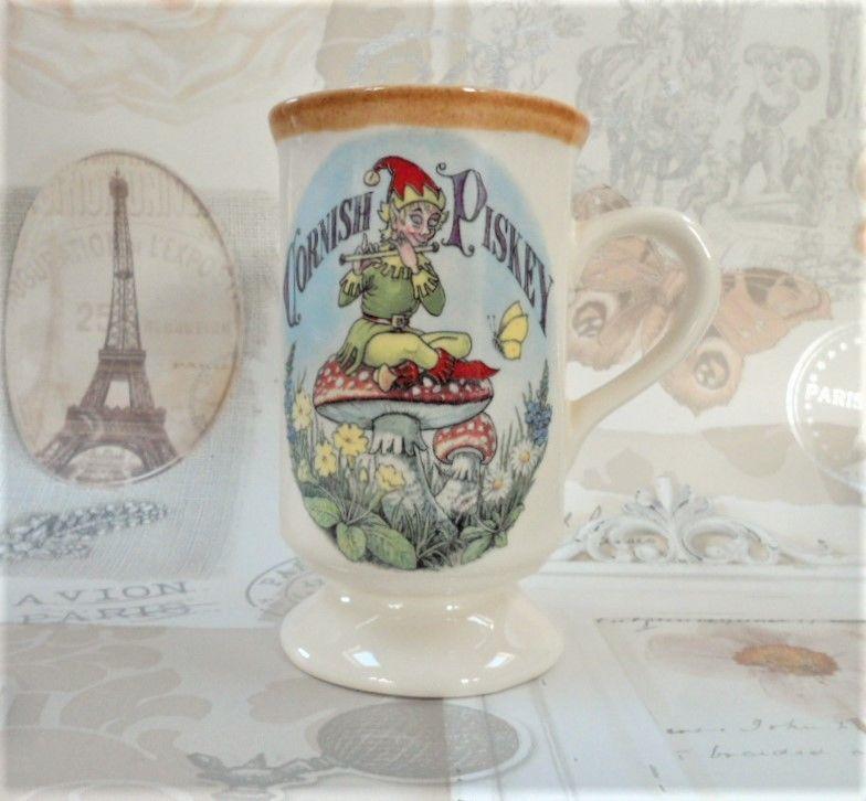 Cornish Piskey Mug Presingoll Pottery Vintage Novelty Tableware & Cornish Piskey Mug Presingoll Pottery Vintage Novelty Tableware ...
