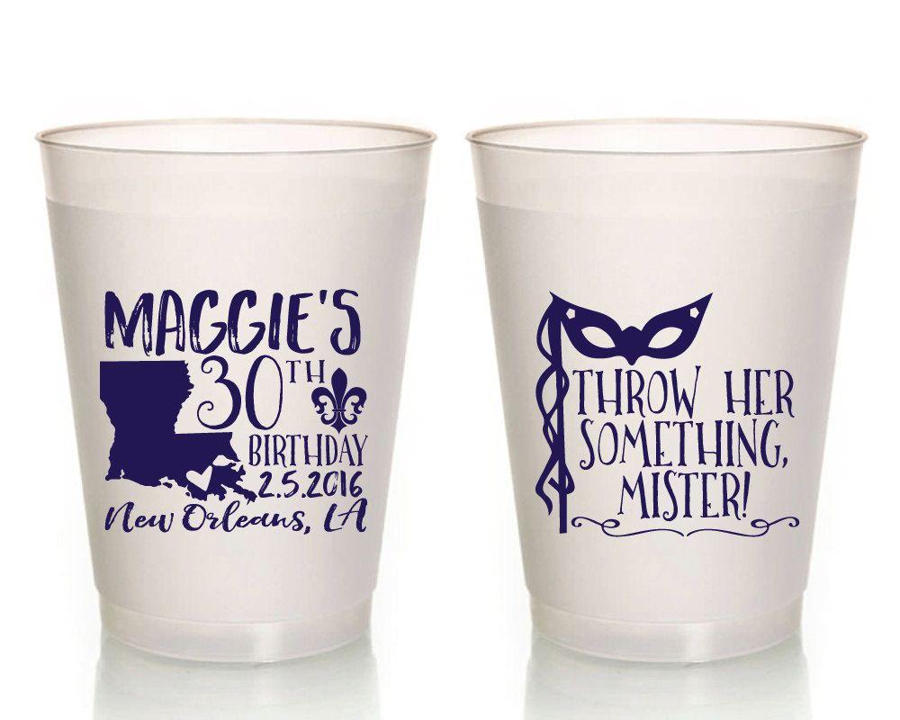 Birthday Party Cups, Mardi Gras Birthday, Mardi Gras Party Favors ...