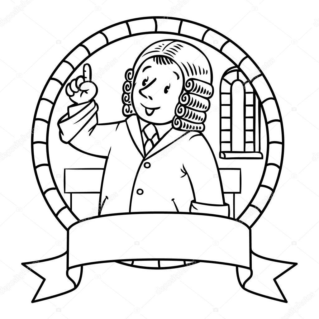 Boyama Kitabı Veya Komik Yargıç Arması Stok Vektör Meslekler