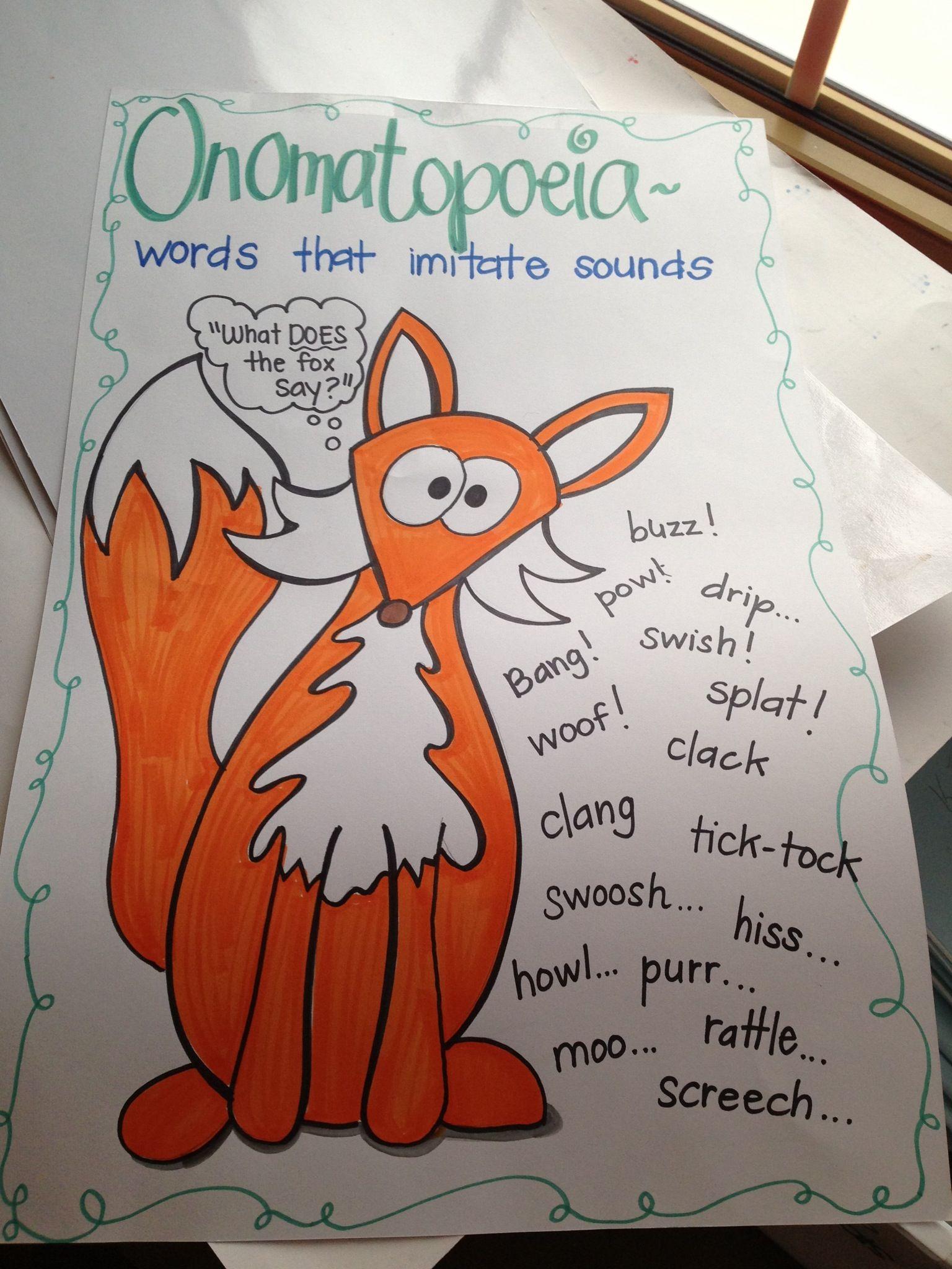 onomatopoeia anchor chart cp education elementary writing