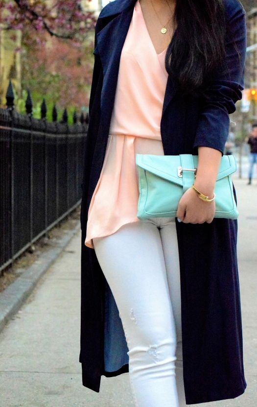 {Spring Weekends} Zara Navy Draped Trench, Piperlime Asymmetric Top, White Denim, Mint Clutch