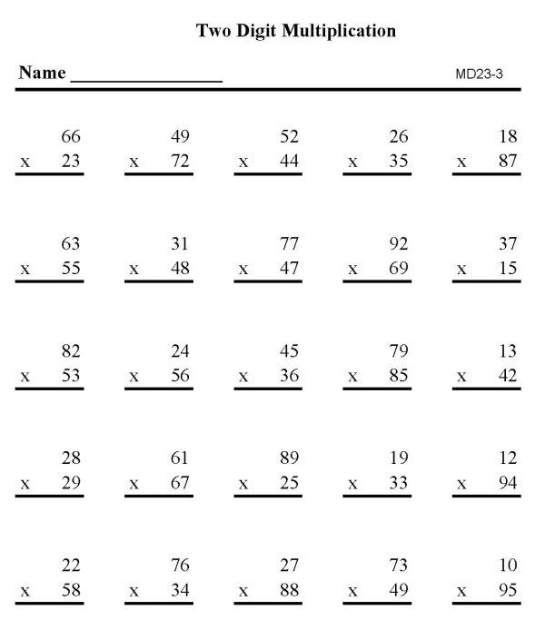 DOUBLE DIGIT MULTIPLICATION PRACTICE SHEET – Two Digit Multiplication Worksheet