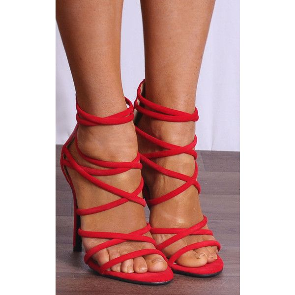 244deed2c7a Shoe Closet Bright Red Faux Suede Strappy Sandals High Heels Peep .