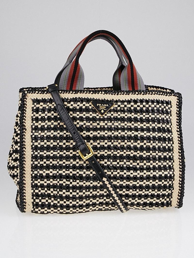b94a5f36bff0 Prada Beige Black Woven Goatskin Leather Madras Tote Bag BN2658 ...