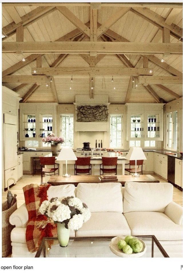 Open Floor Plan Vaulted Ceiling I Like The Table Behind