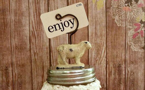 Spring assemblage jarAntique sheep glass jar Flashcard by joniem