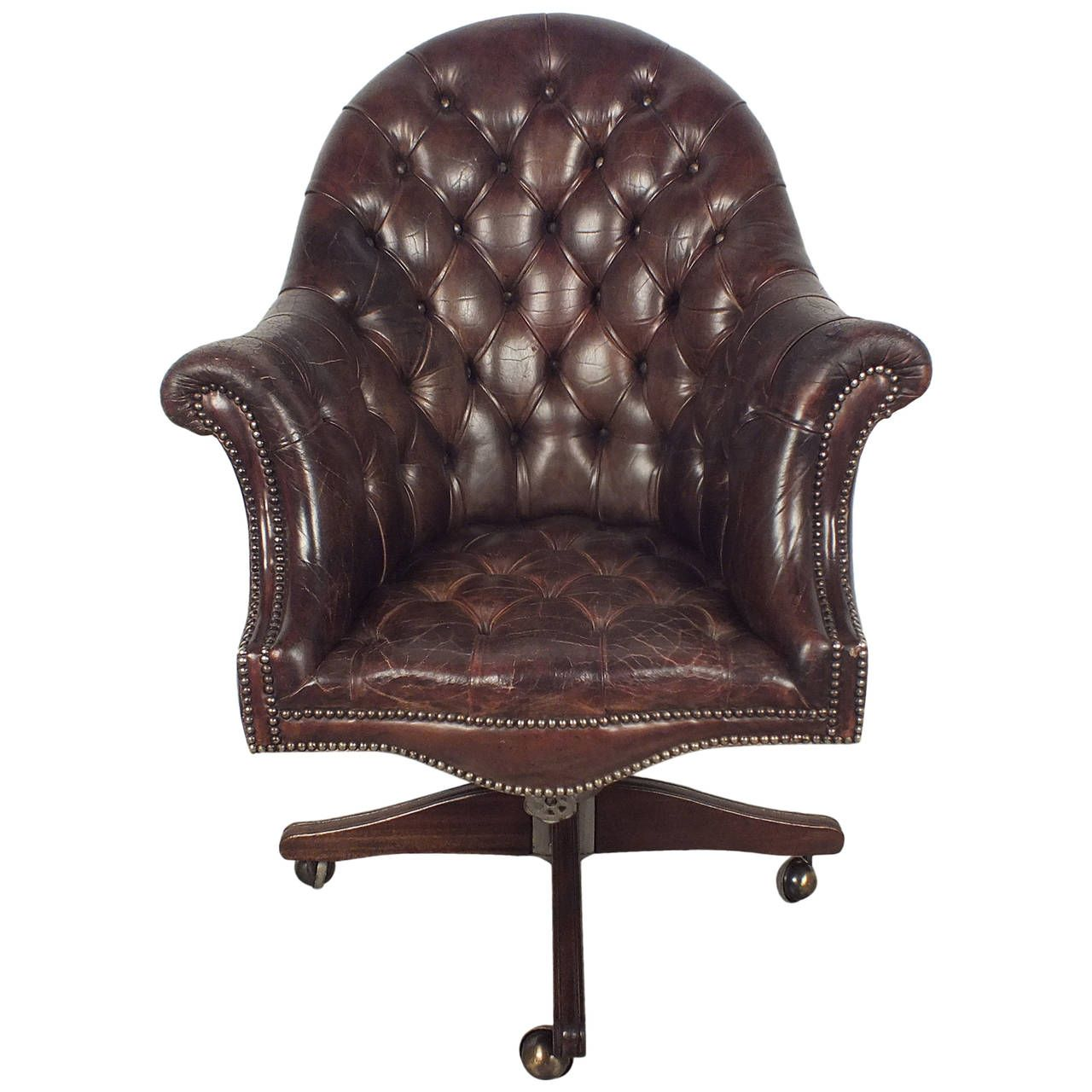 Mid Century English Chesterfield Tufted Leather Office Chair