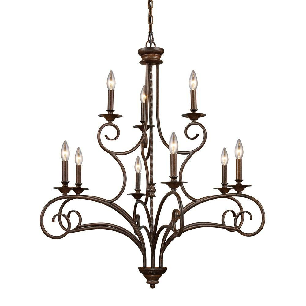 Titan lighting gloucester 9 light antique bronze ceiling chandelier titan lighting gloucester 9 light antique bronze ceiling chandelier tn 7142 the home depot arubaitofo Images