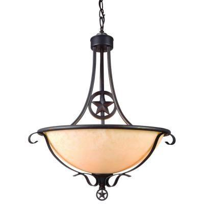 Bel Air Lighting Texas Star 3 Light Antique Bronze Pendant