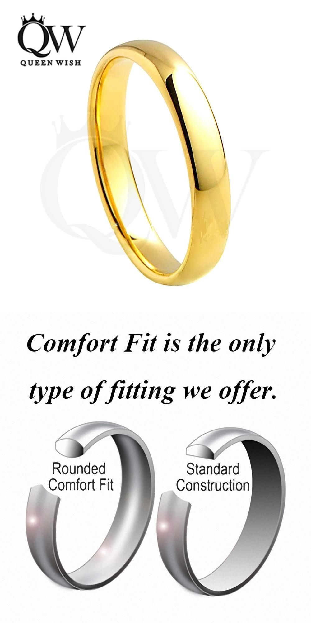 Queenwish 4mm Simply Vintage Gold Rings For Women Tungsten Carbide Wedding E Bands Antique: Western Style Wedding Rings Tungsten At Websimilar.org
