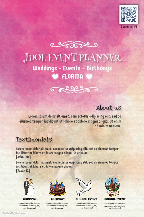 Find Design Templates For Events Planning Easy To Customize Download And Print Or Purc Event Planning Quotes Event Planning Flyer Event Planner Business Card