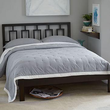 Window Headboard + Simple Bed Frame - King, Chocolate