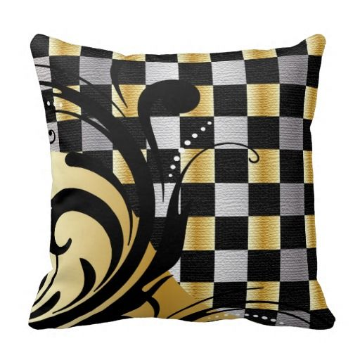 Checkered Swirly Pattern | Silver, Gold, Black Throw Pillows #pillows #homedecor #gold