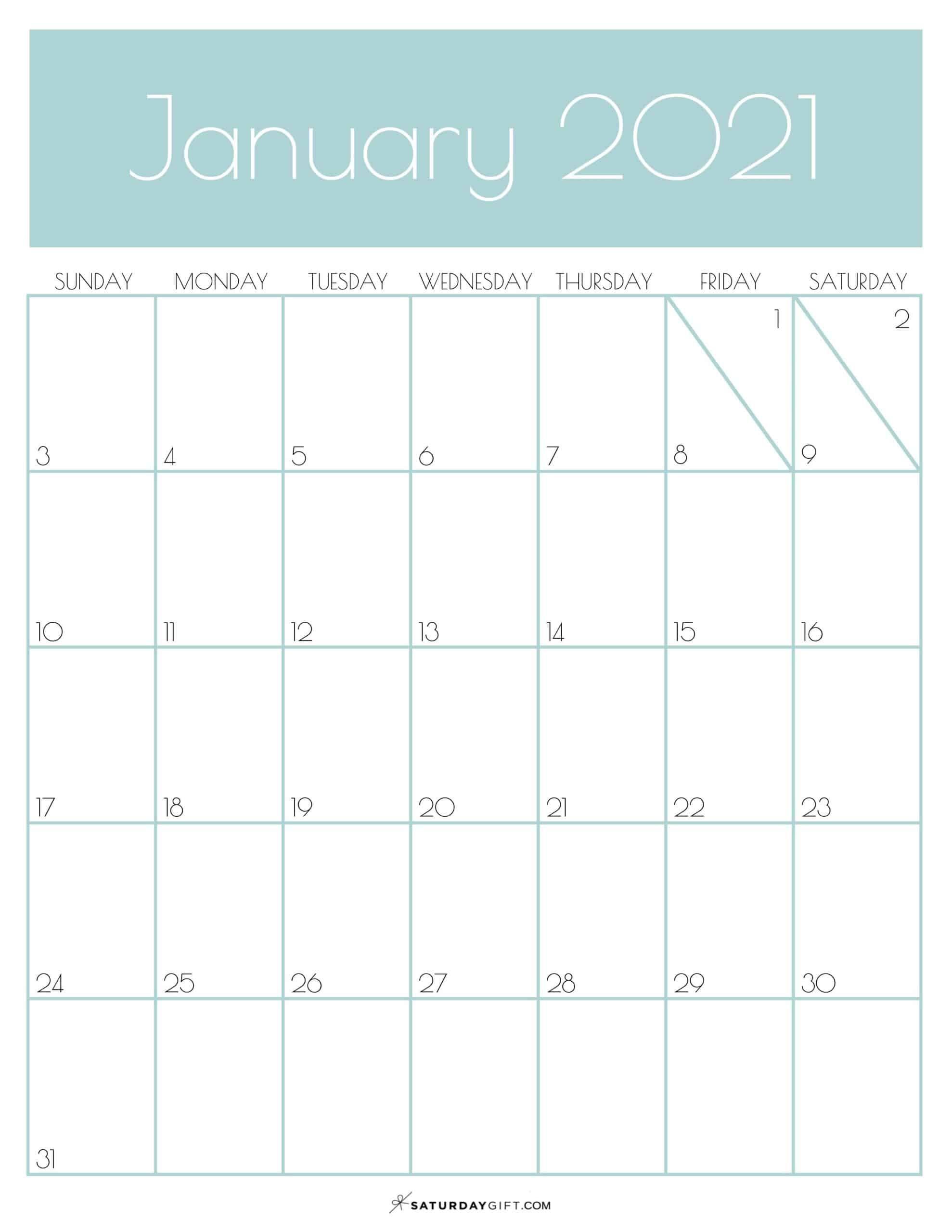 Cute Free Printable January 2021 Calendar Saturdaygift In 2020 Calendar Printables Calendar Template 2021 Calendar