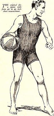 Vintage1930s Mens One Piece Swimming Costume Knitting Pattern Free