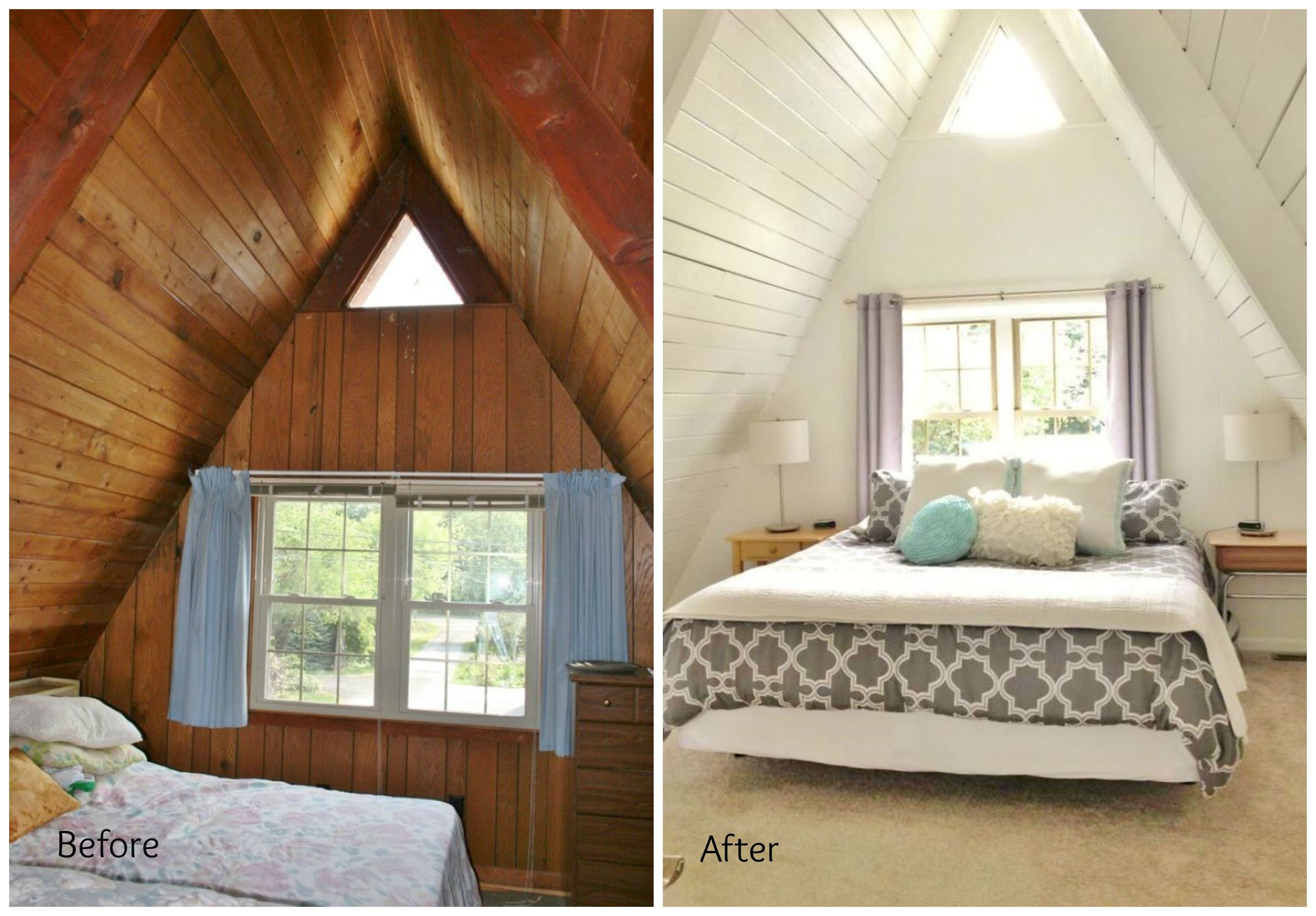 Before and after upstairs A Frame master bedroom