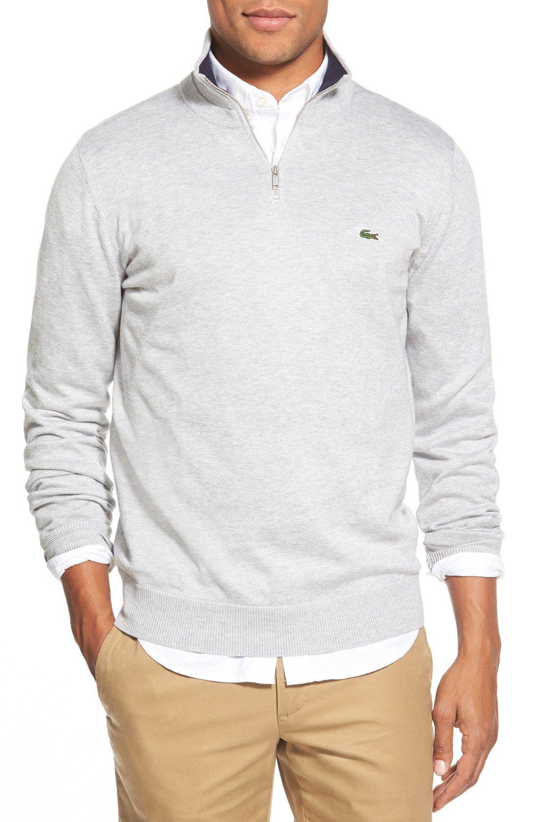 Lacoste Quarter Zip Pullover Sweater