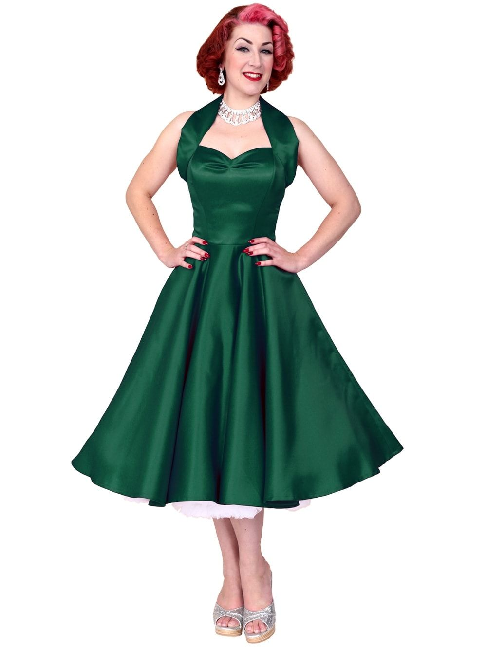 5531bb76db835 50s-1950s-Vivien-of-Holloway-Best-Vintage-Reproduction-Halterneck-Circle- Dress-Forest-Green-Duchess-Rockabilly-Swing-Pinup