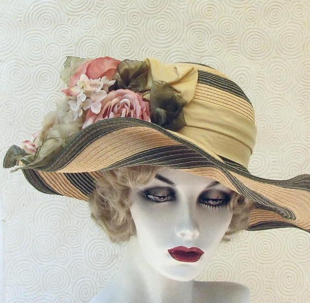 Wiide Brim Shabby Chic Summer Tea Party Hat by Vintage Style Hats by Gail b3cdba5fa70