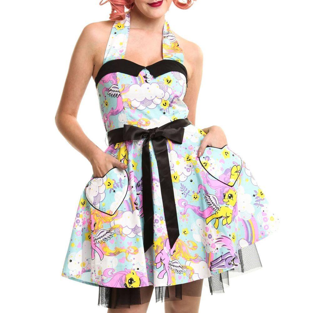 Cupcake Cult Lost Pony Kleid Damen Blau Unipony Aufdruck Goth Emo ...