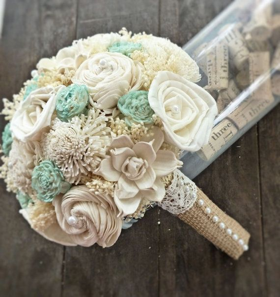 Handmade Natural Wedding Bouquet Small Ivory Mint Bridesmaid