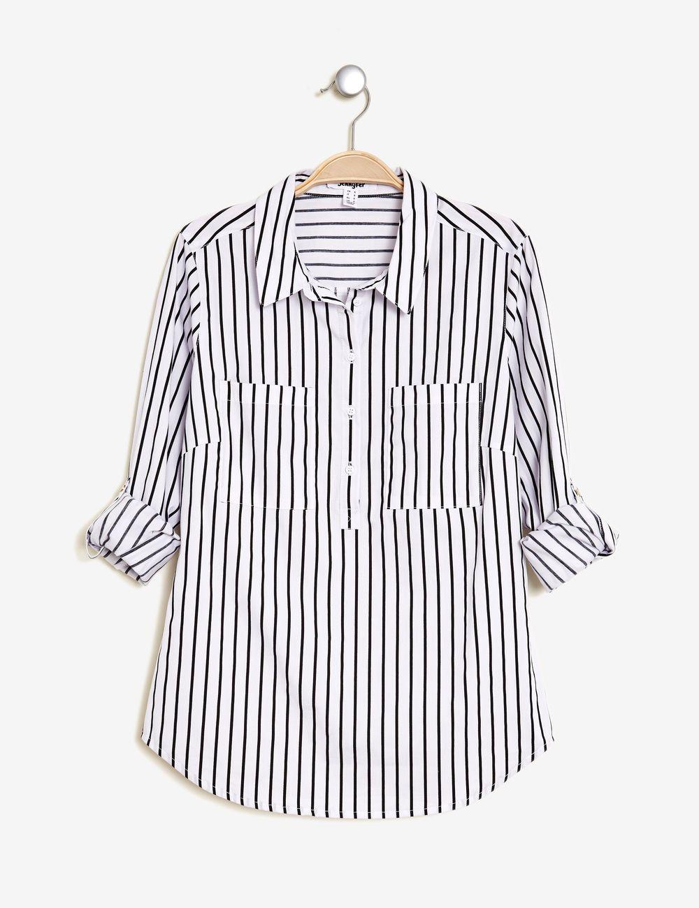 Chemisier Basic Raye Noir Et Blanc Femme Jennyfer Shopping