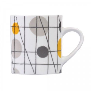 Festival Lines & Circle Mug   Courtyard Boutique  Brighten up your cuppa with this stylish porcelain mug.   ELLE DECORATION BUY OF THE MONTH!