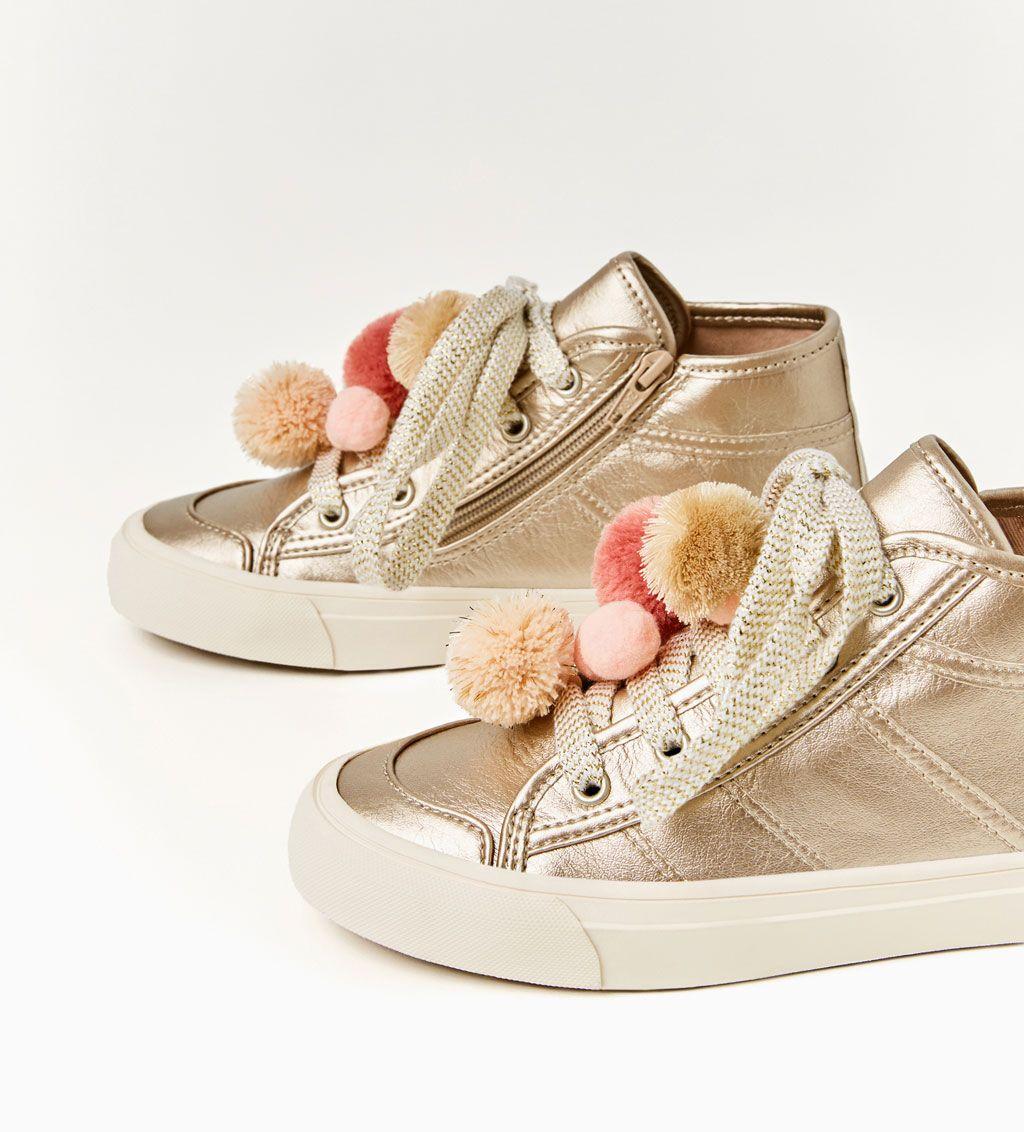 Chaussures Filles4 14 Casual Métallisées Pompon Bottines À Ans Nn8m0wv