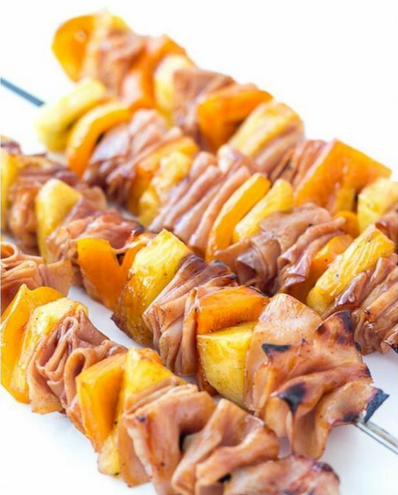 26 Labor Day Recipes from Pinterest That Will Earn You the Cookout Hosting Crown #labordayfoodideas Labor Day Food Ideas: Hawaiian Ham Pineapple Skewers #labordayfoodideas