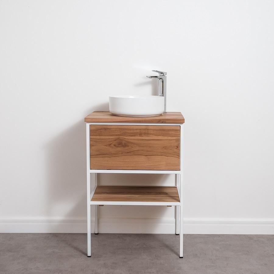 Meuble De Salle De Bain Simple Vasque En Teck Et Metal Blanc Ideal Pour Apporter Une Touche Urbaine Et Meuble Salle De Bain Meuble Sous Lavabo Vasque A Poser