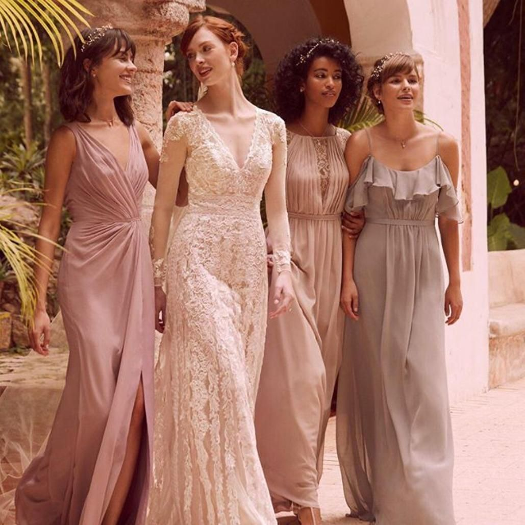 Metallic wedding dress  Inset with metallic Chantilly lace at the pleated plunging Vneck