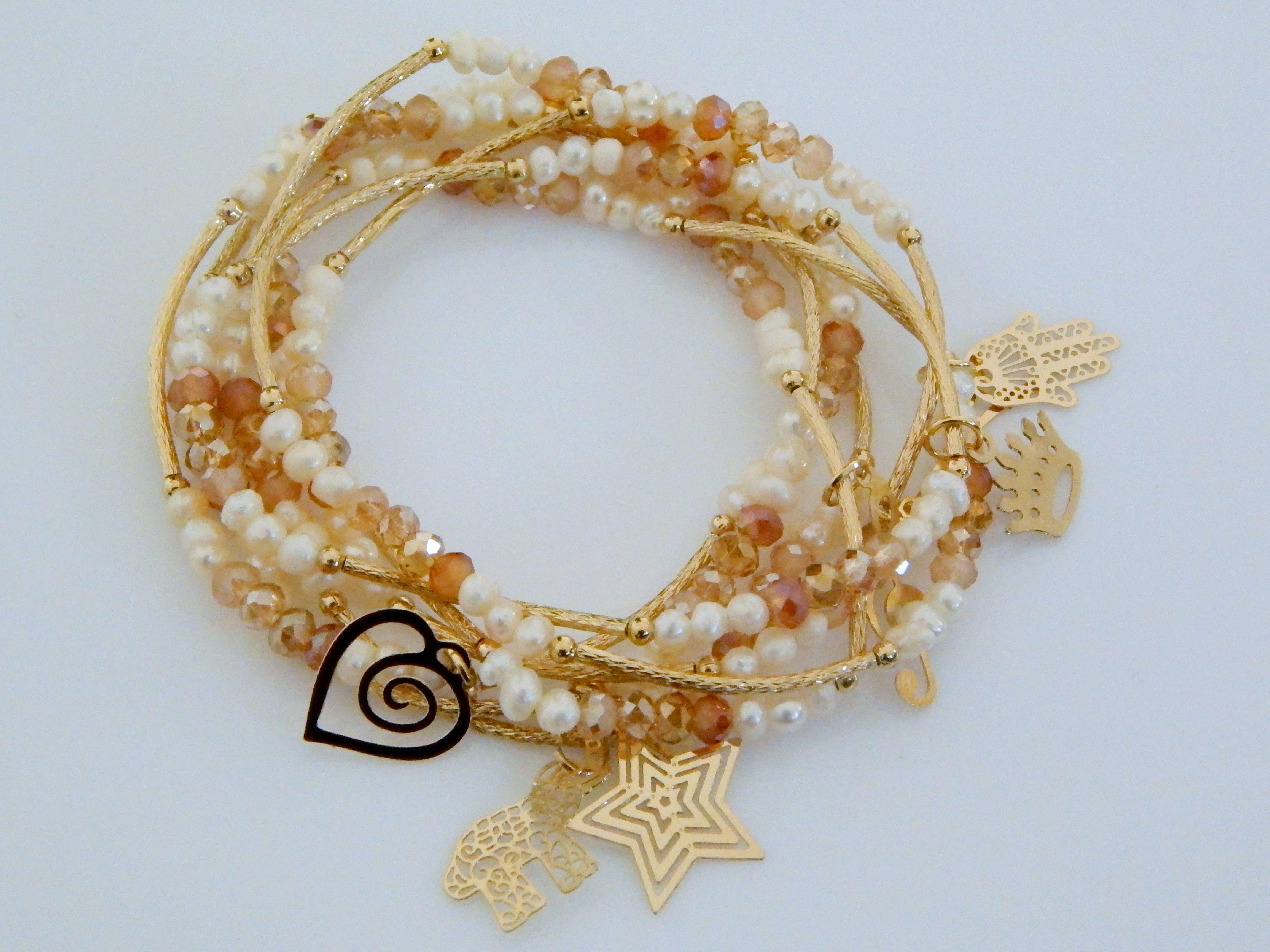 d503b7c8c834 Modelo  SOM0032 Hermosos Semanario de chapa 14k con cristal checo y perla  natural