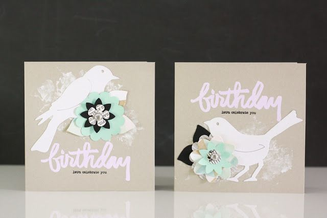 Geburtstagskarten mit Vögelchen für Sizzix UK || Creative Blogger Julia Klein • Birthday Cards with a cute bird for Sizzix UK   #diecutting #sizzix #sizzixplus #cardmaking #bigzdie #bird #greetingcard #flowers