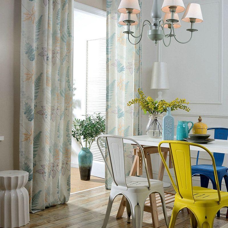 Rideau occultant imprimé en coton polyester écologique pour chambre