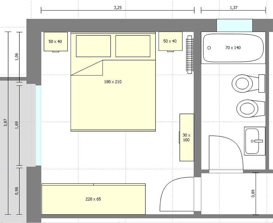 Distribuci n con medidas habitacion pinterest planos for Medidas dormitorio matrimonio