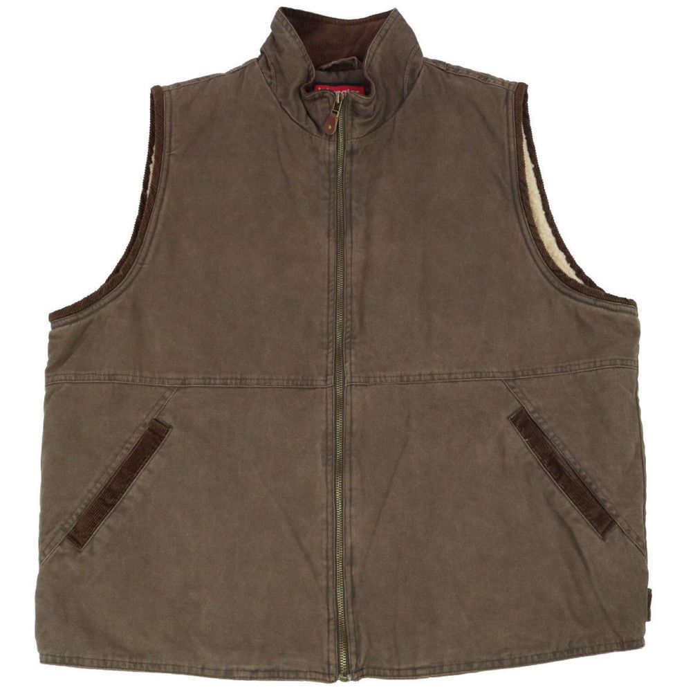 d63e3ba49ee Wrangler Mens Vest Size Large Brown Hero Canvas Sherpa Lined Full Zip Jacket   Wrangler  Vest