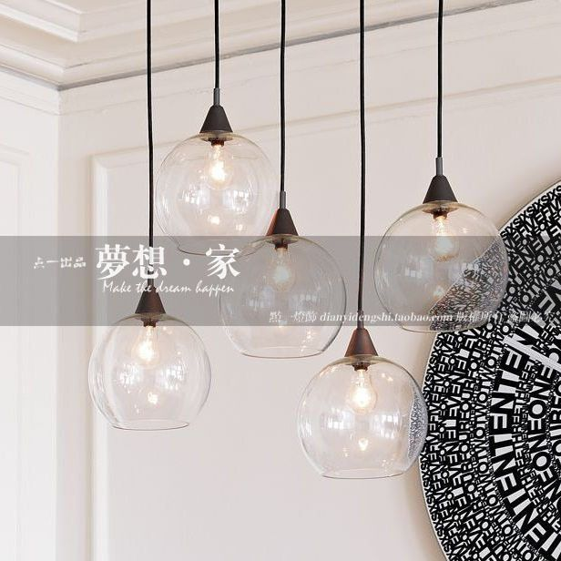 glazen bol restaurant lamp eettafel bar verlichting moderne korte ...