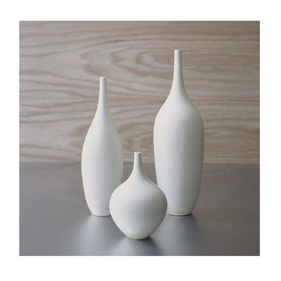 3 Modern White Ceramic Vase Set In Pure Clean Matte Glaze By Sara Paloma Pottery Home Decor Housewares Ceramics