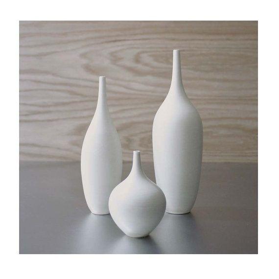 3 Modern White Ceramic Vase Set In Pure Clean Matte Glaze By Sara