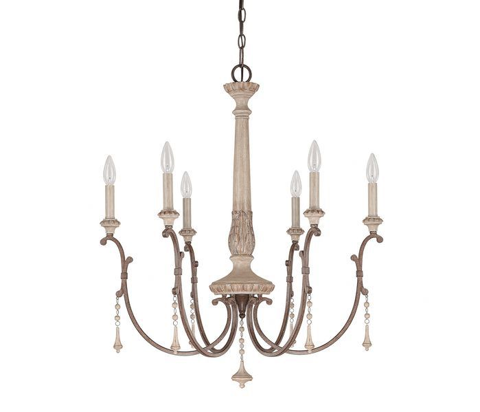 Furniture Rustic French Country Wooden Chandelier With 6 Lamps And Iron Base Painted White Color Decor Ideas