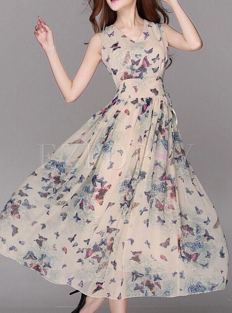 Summer Chiffon Floral Print A-Line Maxi Dress  Maxi dress