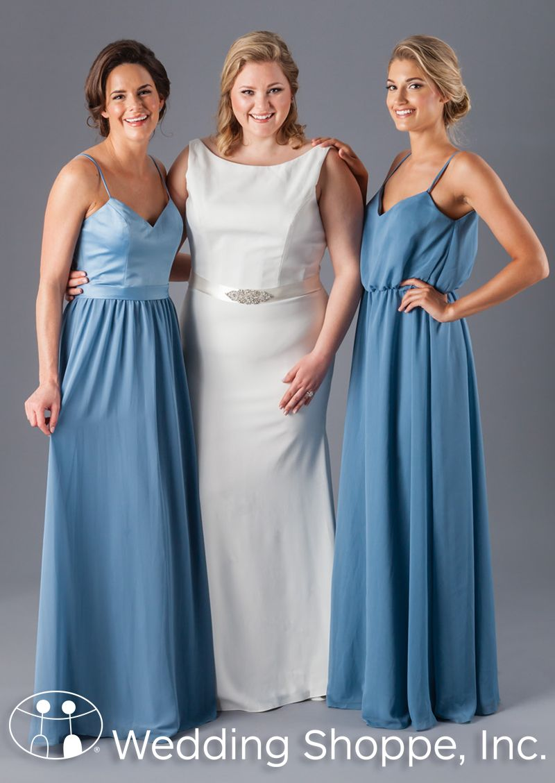 A classic high neckline wedding dress and blue bridesmaid dresses ...